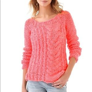 Free People S Hot Tottie Neon Pink Cable Sweater
